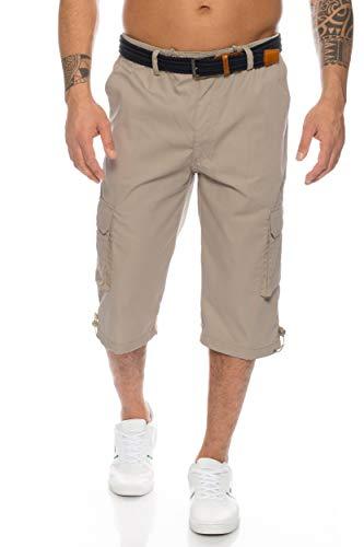 Sommer Farben (Herren Cargo Shorts mit Dehnbund - mehrere Farben ID505, Größe:L;Farbe:Stone-Grau)