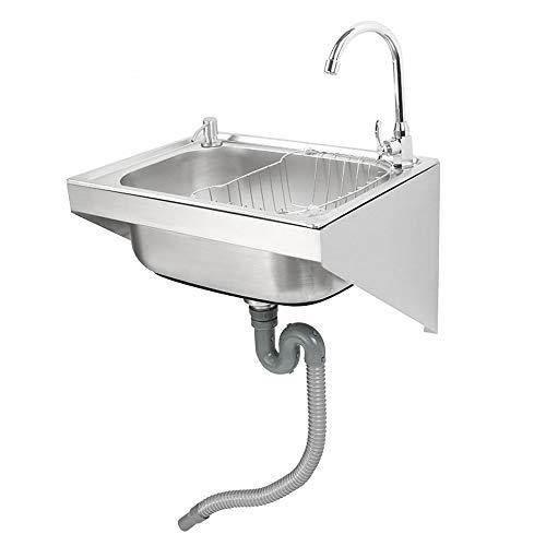 HomeLava Hängewaschbecken 304 Edelstahl Ausgussbecken Waschbecken Spüle Spülbecken Gastro(Ohne Wasserhahn)