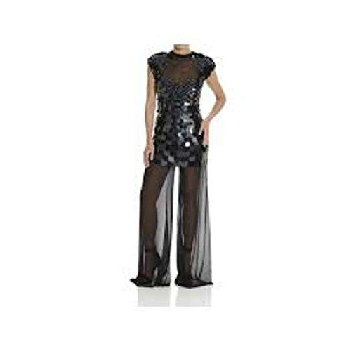 Abito Mangano modello Bornheim con paillettes e pantalone trasparente in velo