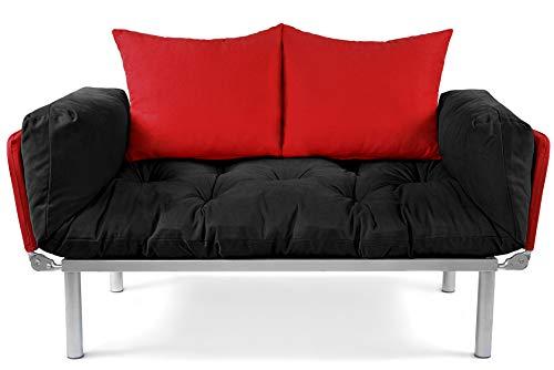EasySitz Schlafsofa Sofa 2 Sitzer Kleines Couch 2-Sitzer Schlafsessel für Zweisitzer Personen Mein Futon Sitzen EIN Einer Farbauswahl (Schwarz & Rot) -