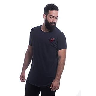 ArmoLine Men's Longline T-Shirt Short Sleeve Hip Hop Curved Hem (Large, Blue)