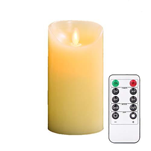 """TEECOO parpadeo sin llama vela LED Φ3.15 """"x H 6"""" conjunto de 1 pilar de cera real no de plástico con 10 teclas de control remoto temporizador 220 horas (1, marfil)"""