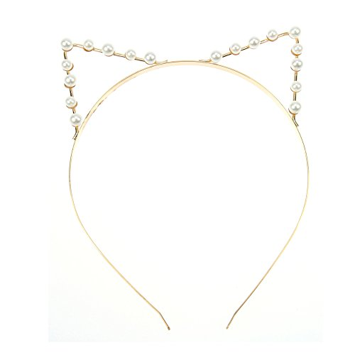 Nikgic Lovely Cat Ear Hair Band Kitty Headband Clip Hair Hoops Clasps Gold Color