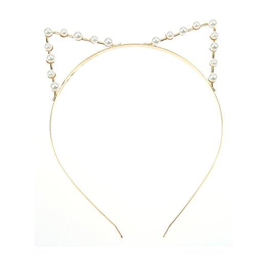 Kostüm Post Halloween (Lumanuby Katzenohren Haarreif für Damen Schön Ohren Stirnband Kostüm Haarschmuck für Party Bar Abschlussball Hochzeit, Golden)