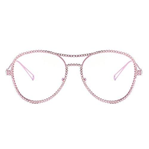 Provide The Best Strass-Dekor-Frauen-Mädchen-runde geformte Sonnenbrille UV400 Schutz Brillen PC Objektiv Outdoor Brillen Plain Gläser