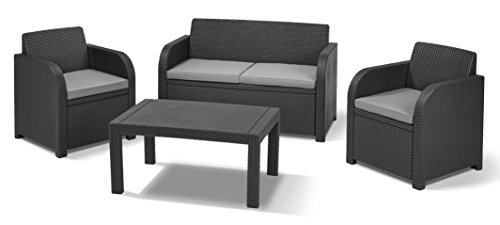 Keter Carolina Outdoor 4 Seater Rattan Lounge Table Garden Furniture Set - Graphite with Grey Cushions