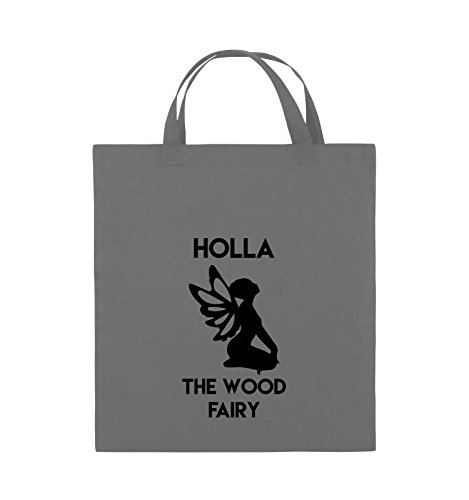 Comedy Bags - HOLLA THE WOOD FAIRY - Jutebeutel - kurze Henkel - 38x42cm - Farbe: Schwarz / Weiss Dunkelgrau / Schwarz