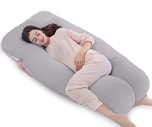 QUEEN ROSE Cuscino a Forma di U, Ideale per Gravidanza e Maternità con Fodera Rimovibile e Lavabile (150 x 80 cm, Cotone, Grigio)