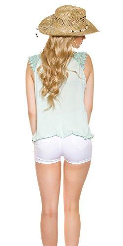 In Style Damen Top Shirt Tunika mit Trägern aus Häkel Spitze | Party, Freizeit, Business | leichter Stoff, sommerliche Farben Mint