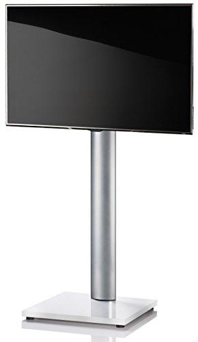 Glas Mdf Tv-ständer (VCM TV Standfuß LED Ständer Fernseh Alu Glas Universal VESA Mobil Rollen  Zwischenboden Weißlack