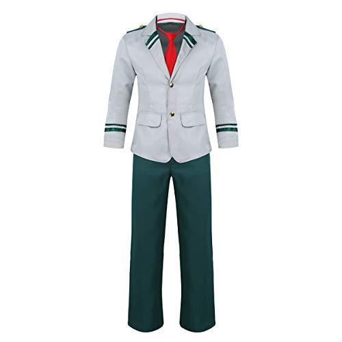 FEESHOW Erwachsene Schuluniform Kostüm Set Anzug Uniform Japanisisch Cosplay Anime Verkleidung für Damen Herren Dunkel Grün_Herren X-Large