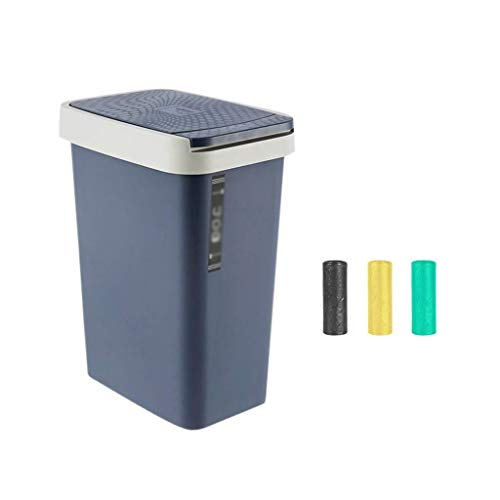 Hyzb Mülleimer mit Deckel, Kunststoff-Kugel-Mülleimer, rechteckiger Papierkorb, Aufbewahrungseimer für Privathaushalte (Color : Navy Blue, Size : Small) (Navy Papierkorb)
