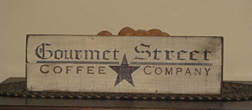 Bair89Pulla Gourmet Street Coffee Company Upcycled Holzschild Recycled Schild Kaffee Schild Werbeschild Rustikal Küche Schild Bauernhaus Schild (Küche Gourmet-kaffee)