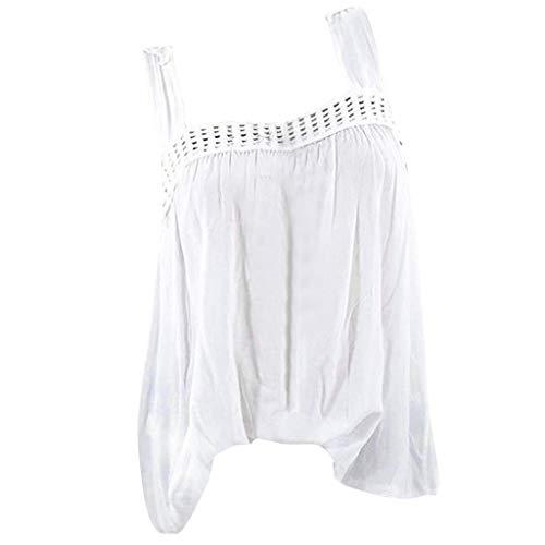 Fuibo Damen Sommer Oberteile Tops zurück Schmetterling Lace Stitching ärmellose Weste Leibchen Große Größen T-Shirt Vintage Casual Bluse Lose Oversized Tunika Tops Tee (L, Weiß) -