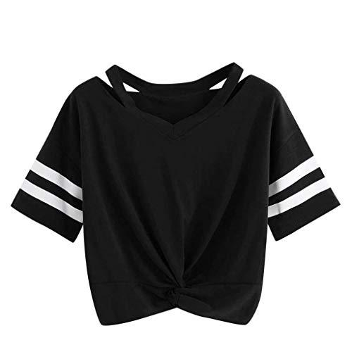 Lurcardo Damen Shirts Blumen Planet Gedruckt aushöhlen Crop Tops Kurzarm Kurze Ärmel Lässiges Lose Bluse Oberteil Teenager Mädchen T Shirt Hemd Pulli Pullover