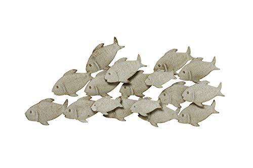 S&D Wandbild Wandobjekt Fische aus Eisen in Mattgrau