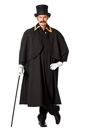 Duster Erwachsenen Steampunk Kostüm Für - shoperama Premium Herren Kutscher Umhang lang Schwarz/Gold Mantel Cape Halloween Steampunk, Größe:60