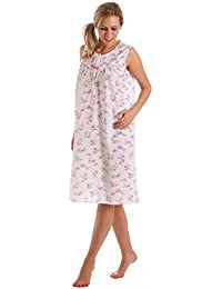 Ladies Lady Olga Polycotton Short or Long Sleeve Floral Nightie, Pyjamas, Wrap Pink or Blue Size 10-32