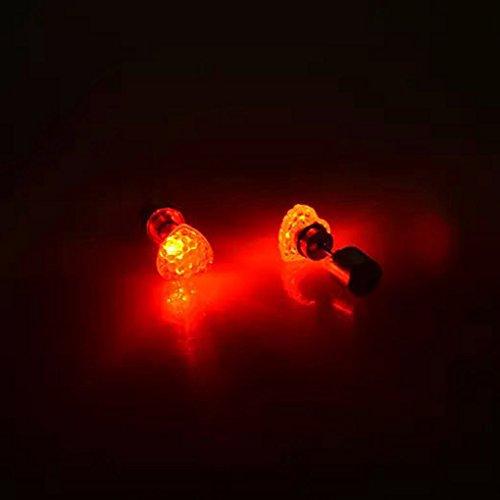 QHGstore 1Pair leuchtende LED Light Up Ohrringe Bling glänzende Herz-Bolzen-Ohrringe Rot