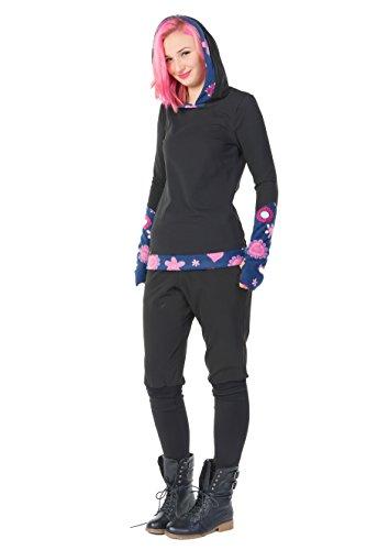 Winter Kapuzenpullover Hoodie Damen schwarz Herbst Kleidung Daumenloch Mode 3 Elfen Kapuzenpulli Frauen schwarz pink Lady XS - 2