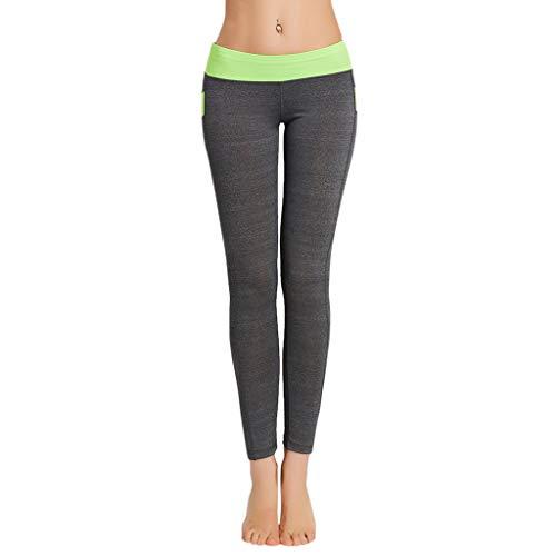 WOZOW Damen Leggings Gamaschen Solid Basic Patchwork Chino Hose Trousers Stretch High Waist Lang Long Workout Jogginghose Sport Hose Yoga Stoffhose (M,Army Grün) -