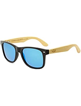 Gafas de madera MOSCA NEGRA modelo MIX SOLID BLACK and ICE BLUE wood sunglasses