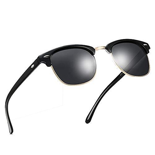 Hethrone Semi Brown Randlos Polarisierte Sonnenbrille UV 400 Schutzbrille Mode Brillen für Frauen CB-12 (Schwarz