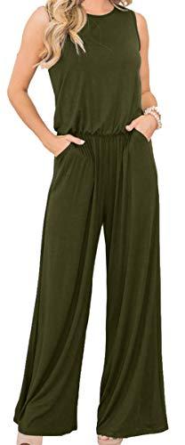 Longwu Damen ärmellos Jumpsuits lose breite Beine Casual Overall Playsuits mit Taschen - Grün - 44