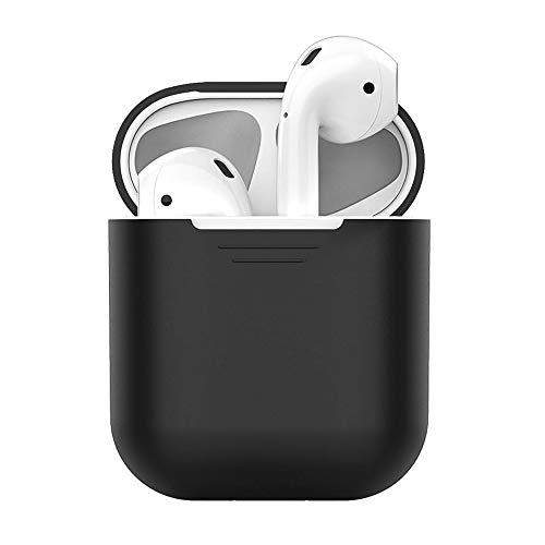 Schutzhüllen 4 in 1mit Apple AirPods 1&2 New Bee Premium Silikon Kratzfestes Airpods Schutzhüllen Set für Airpods-Ladeetui mit Airpod Etui/Cliphalter/Band/Ohrhaken (Schwarz) -