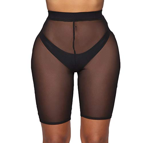 FULA-bao Damen Sexy Perspective Mesh Durchsichtige Badeshorts Bikini Bottom Cover Up - Schwarz - X-Large (Junior Badeanzug Cover Ups)