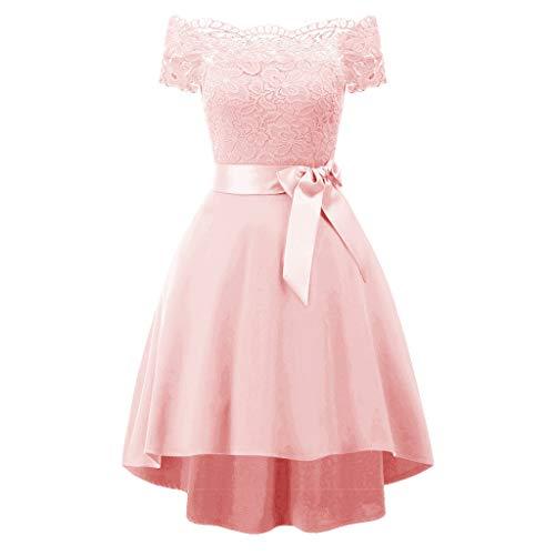 KPILP Frauen Elegantes Kleid 1950er Vintage Spitze Formale Prinzessin Aline Petticoat Floral Cocktail V-Ausschnitt Party Schaukel(A2-rosa,EU-40/CN-L)