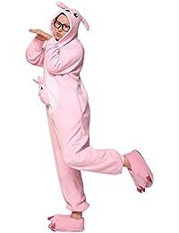 Ghope Enfant Pyjama en Flanelle kigurumi Fille Garçon Déguisement Cosplay Combinaison Animaux Une pièce Costume à Capuche Vêtement de Nuit Tenus Halloween Onesie Carvanal Noël Kangourou