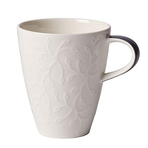 Villeroy & Boch Caffè Club Floral Touch of Smoke Kaffeebecher, 350 ml, Premium Porzellan, Weiß/Grau