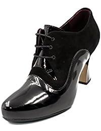 Zapato mujer con cordones PITILLOS en piel color negro combinado charol negro - 1554 - 563
