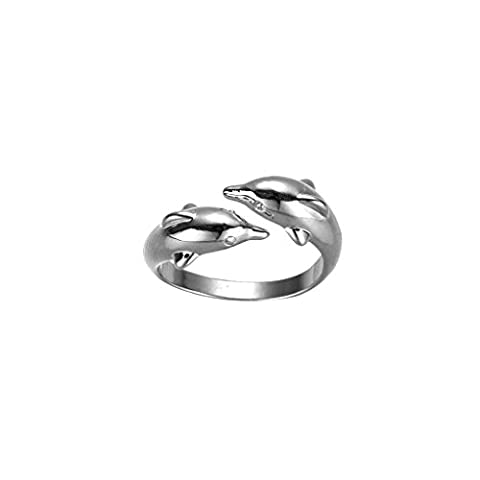 LUFA Silver Plated Jewelry Lovers Ring Happiness Double Dolphin Opening Rings For Women