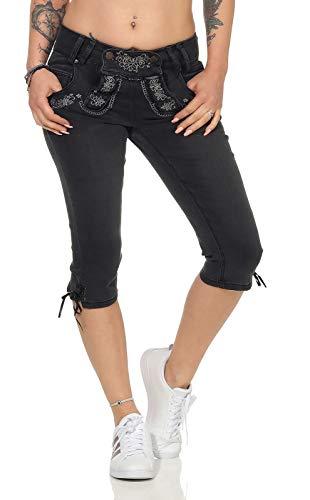 Hailys Damen Capri Jeans Trachten Hose Lederhose Oktoberfest (M, Black Denim)