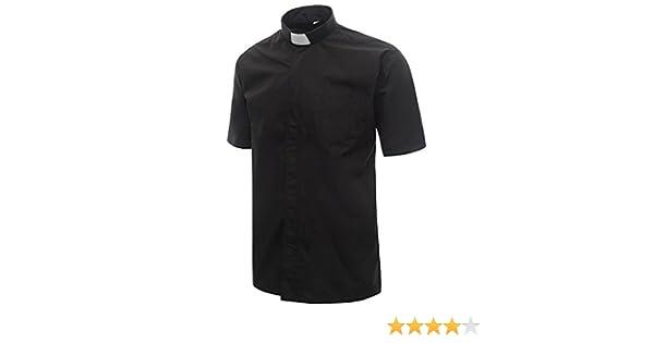 Ivyrobes Herren Kurzarm Hemd Priesterhemd mit Tab-Kragen Schwarz  Amazon.de   Bekleidung dac940d43e