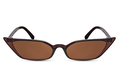Cheapass Sonnenbrille Katzenauge Braun UV-400 Schmal Breit Cat-Eye Exklusiv-e Designer-Brille Plastik Frauen Damen