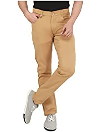 Nimegh Beige Colored Cotton Casual Slim Fit Solid Trouser For Men's