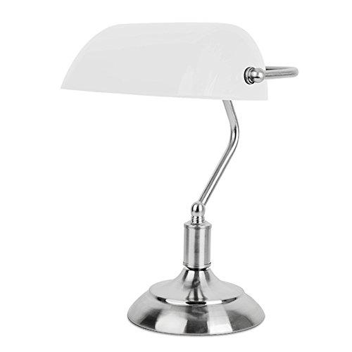MiniSun - Lámpara de mesa tradicional de escritorio de banquero en cromo y blanco