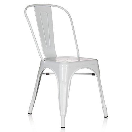 hjh OFFICE 645022 Bistrostuhl VANTAGGIO Comfort Metall Weiß Stuhl im Industry-Design, stapelbar