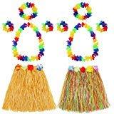 Hula Gras Rock mit Blumen Leis Kostüm Set, Elastisches Luau Grass und Hawaiian Blume Armbänder, Stirnband, Halskette für Party Favors, 2 ()