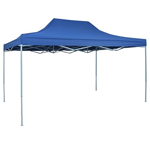 Festnight gazebo richiudibile pieghevole ad apertura automatica 3x4,5 m blu da giardino telaio in acciaio rivestimento in pvc