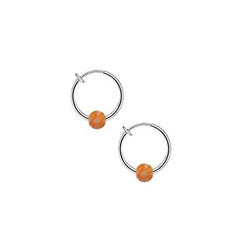 bodyjewelry Non Piercing Spring Hoop mit Acryl Orange Checker wie Perlen Orange Checker