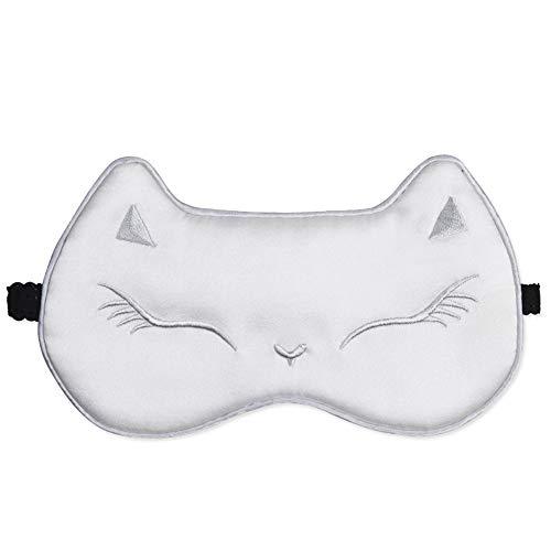 Melodycp Augenmaske mit Bandeaugen, Augenmaske aus Seide und Augenmaske, Katze mit elastischem Band/Kopfband, weiche Maske für die Augen weiß