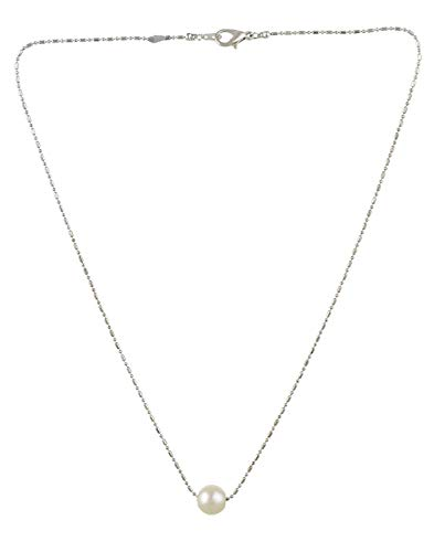 TAZS Long Chain Round Pearl Pendant Necklace for Women and Girls