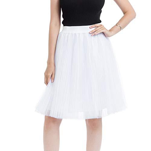 VEMOW Heißer 50er Elegante Damen Petticoat 4 Schichten Mesh Tüllrock Plissee Prinzessin Rock Mesh Bubble Rock für Rockabilly Kleid(Weiß, Freie - Womens Löwen Kostüm