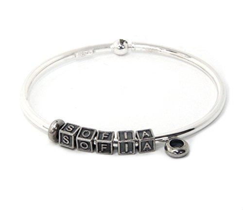 Nalbori ® componibili bracciale argento 925 modello per donna e uomo personalizzato con charm. chiusura brevettata, forma ovale + 2 stop + 5 letterine (nome sofia)