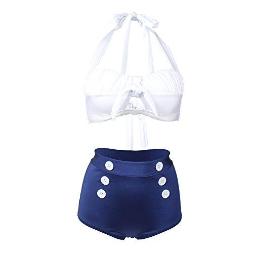 Vintage Sailor Hose (Laorchid Fashion Damen Bauchweg Hoher Taille Badeanzug Bikini Set Push Up Weiss & Blau S)
