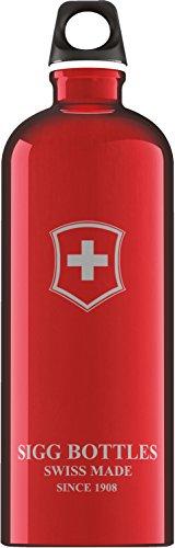 SIGG Swiss Emblem Red, Wandern Trinkflasche, 1 L, BPA Frei, Aluminium, Rot